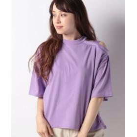 (WEGO/ウィゴー)WEGO/ワンショルリブロゴTシャツ/レディース パープル