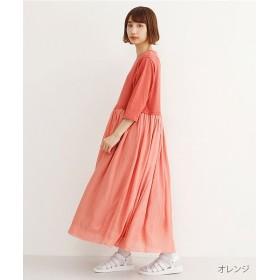 メルロー 楊柳ドッキングTシャツワンピース レディース オレンジ FREE 【merlot】