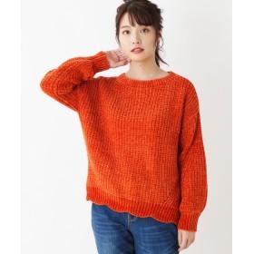 ピンクアドベ 光沢モール地 裾スカラップニット レディース オレンジ(067) 40(L) 【pink adobe】