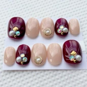 ジェルネイル ボルドー シンプル オフィスネイル ネイルチップ 付け爪