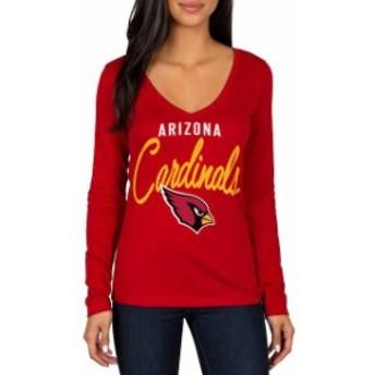 JFNB ジェイエフエヌビー スポーツ用品 Arizona Cardinals Womens Cardinal Strong Side V-Neck Long Sleeve T-Shirt