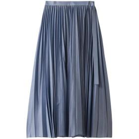 ebure エブール シアーシャンブレー ロングプリーツスカート ブルー
