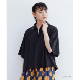 メルロー ビッグシルエットハーフジップカットソー レディース ブラック FREE 【merlot】