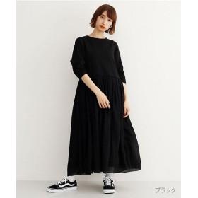 メルロー 楊柳ドッキングTシャツワンピース レディース ブラック FREE 【merlot】