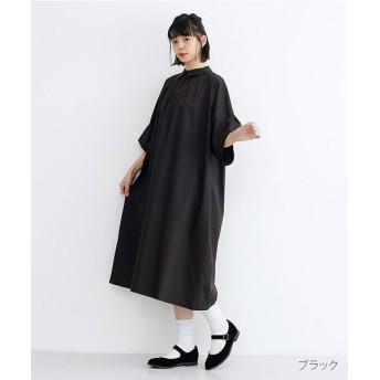 メルロー タックフレアスリーブシャツワンピース レディース ブラック FREE 【merlot】