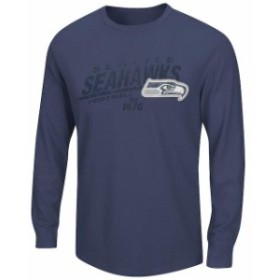 Majestic マジェスティック スポーツ用品  Seattle Seahawks Majestic College Navy Classic Thermal Long Sleeve T-Shirt