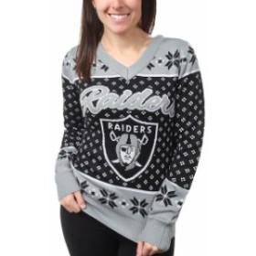 Klew クルー 服 スウェット Klew Oakland Raiders Womens Black Big Logo V-Neck Sweater