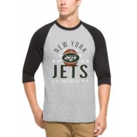 47 フォーティーセブン スポーツ用品  47 New York Jets Gray Lockdown Raglan 3/4-Sleeve T-Shirt