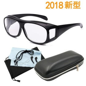 GOKEI_CO 拡大鏡 メガネ めがね ルーペメガネ 1.6倍 「スマホ パソコン 老眼」対策 えんきん 鏡 メガネ型拡大鏡 ルーペ 5点セット ブラック.