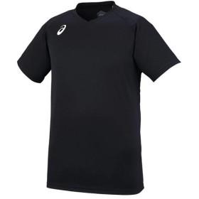 アシックス(asics) メンズ レディース バレーボール プラクティス ショートスリーブトップ ブラック×ホワイト XW6746 9001 バレーボールウェア 半袖 シャツ