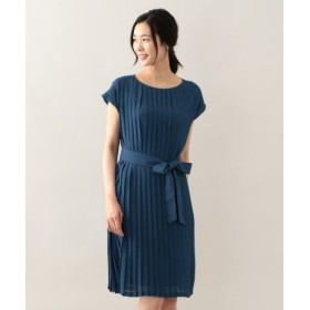 (AMACA/アマカ)ジョーゼットプリーツロング丈ドレス/レディース ブルー 送料無料