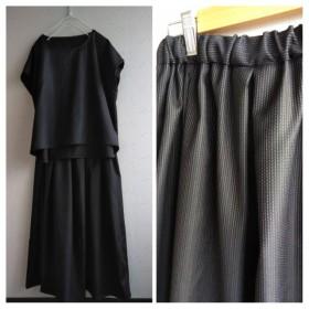 しなやか黒光沢刺繍ストライプ地ブラウス&スカート