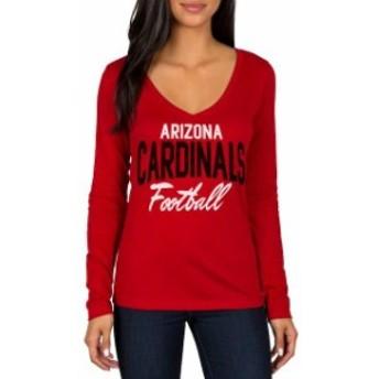 JFNB ジェイエフエヌビー スポーツ用品 Arizona Cardinals Womens Cardinal Direct Snap V-Neck Long Sleeve T-Shirt
