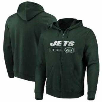 Majestic マジェスティック スポーツ用品 Majestic New York Jets Green Hyper Stack Full-Zip Hoodie