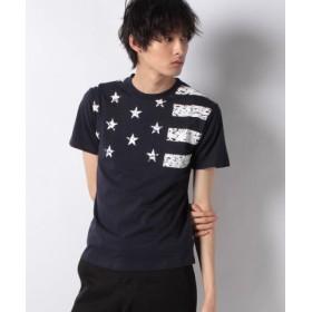 (STYLEBLOCK/スタイルブロック)星条旗プリントクルーネック半袖Tシャツ/メンズ ネイビー