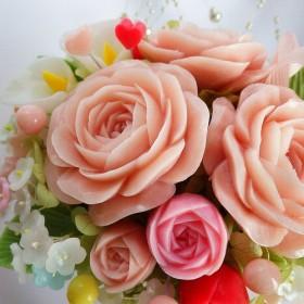 石鹸のバラを ライトピンクポット。ソープカービング/石鹸彫刻