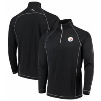 Tommy Bahama トミー バハマ 服 スウェット Tommy Bahama Pittsburgh Steelers Black Goal Keeper Raglan Quarter-Zip Pullo