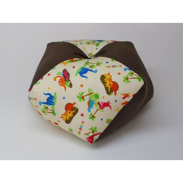 手作りあぐら座布団 おじゃみ(お手玉)の形をした可愛らしい座布団。 正座やあぐらで楽に座れます。上質な木綿わた使用し丁寧にお仕立てます。 g850 恐竜×無地モカブラウン