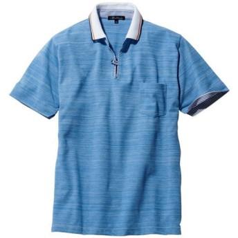 【メンズ】 ベストセラー! ドライ・スキッパー風デザインポロシャツ - セシール ■カラー:サックス系 ■サイズ:7L,L,3L,5L,LL,S,M