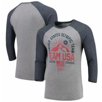 Outerstuff アウタースタッフ スポーツ用品 Team USA Heathered Gray/Navy Mountain Rays Raglan 3/4-Sleeve T-Shirt