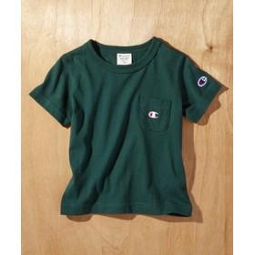 Champion ワンポイントポケット付きクルーネックTシャツ キッズ グリーン