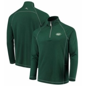 Tommy Bahama トミー バハマ 服 スウェット Tommy Bahama New York Jets Green Goal Keeper Raglan Quarter-Zip Pullover Sw