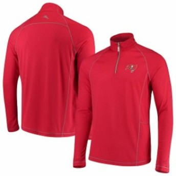 Tommy Bahama トミー バハマ 服 スウェット Tommy Bahama Tampa Bay Buccaneers Red Goal Keeper Raglan Quarter-Zip Pullov