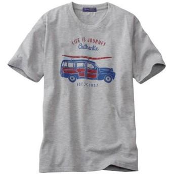 【メンズ】 プリントTシャツ!ほどよくムラ感のある素材がイイ感じ☆ - セシール ■カラー:グレー ■サイズ:LL,M,L,3L,5L