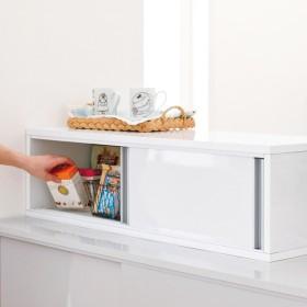 水ハネ対応引き戸カウンター上収納庫 幅90cm・大容量タイプホワイト