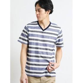 [マルイ]【セール】吸水速乾 ヘリンボンボーダーVネック半袖Tシャツ/タカキュー(TAKA-Q)