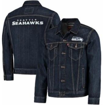 Levis リーバイス アウターウェア ジャケット/アウター Levis Seattle Seahawks Blue Sports Denim Trucker Jacket
