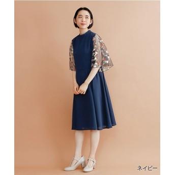 メルロー 花刺繍レース袖ワンピース レディース ネイビー FREE 【merlot】