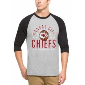 47 フォーティーセブン スポーツ用品  47 Kansas City Chiefs Gray Lockdown Raglan 3/4-Sleeve T-Shirt