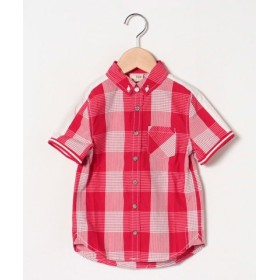 (GIORDANO/ジョルダーノ)[GIORDANO]半袖チェックシャツ/レディース レッド系