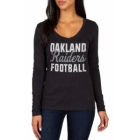 JFNB ジェイエフエヌビー スポーツ用品  Oakland Raiders Womens Black Blitz 2 Hit Long Sleeve V-Neck T-Shirt