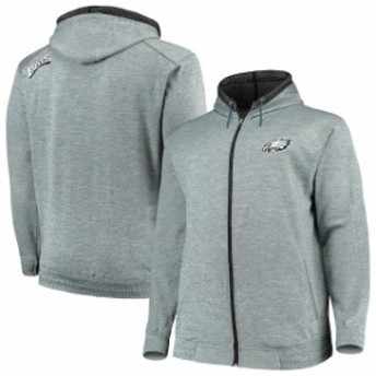 Majestic マジェスティック スポーツ用品  Majestic Philadelphia Eagles Midnight Green Big & Tall Space Dye Full-Zip
