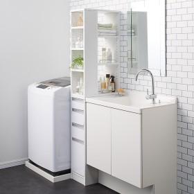収納物が取り出しやすい3面オープンすき間収納庫 幅25cmホワイト