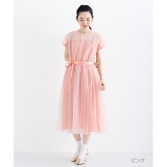 メルロー デコルテシースルーワンピース レディース ピンク FREE 【merlot】