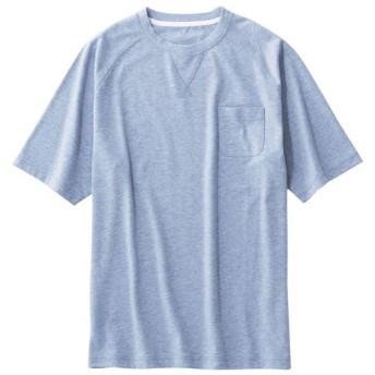 【メンズ】 夏色Tシャツ!(吸汗・速乾の杢調素材を使用しました) - セシール ■カラー:ブルー ■サイズ:M,L,3L,LL,5L