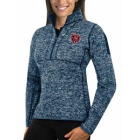 Antigua アンティグア スポーツ用品  Antigua Chicago Bears Womens Heather Navy Fortune Half-Zip Sweater