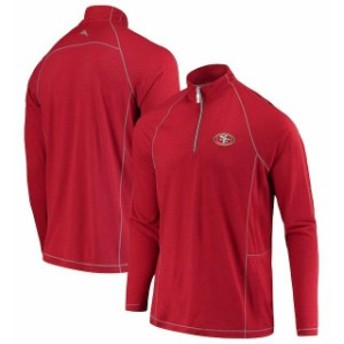 Tommy Bahama トミー バハマ 服 スウェット Tommy Bahama San Francisco 49ers Scarlet Goal Keeper Raglan Quarter-Zip Pul