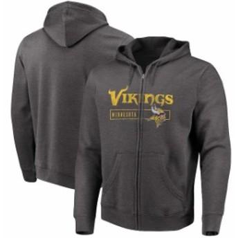 Majestic マジェスティック スポーツ用品 Majestic Minnesota Vikings Heathered Charcoal Hyper Stack Full-Zip Hoodie