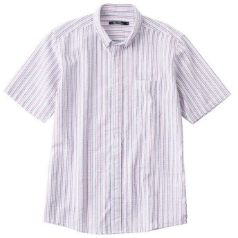 【メンズ】 綿100%サッカー素材シャツ(半袖) - セシール ■カラー:ストライプA ■サイズ:3L,L,S,5L,7L,M,LL