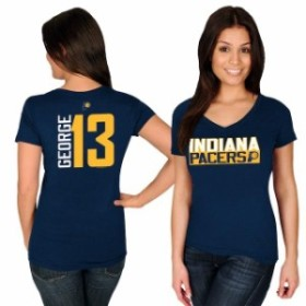 Majestic マジェスティック スポーツ用品  Majestic Paul George Indiana Pacers Womens Navy Name & Number V-Neck T-Shi