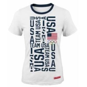 Outerstuff アウタースタッフ スポーツ用品  Team USA Womens White Squared Ringer T-Shirt