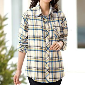 ベルーナ 綿100%チェックシャツ レッド系 M レディース