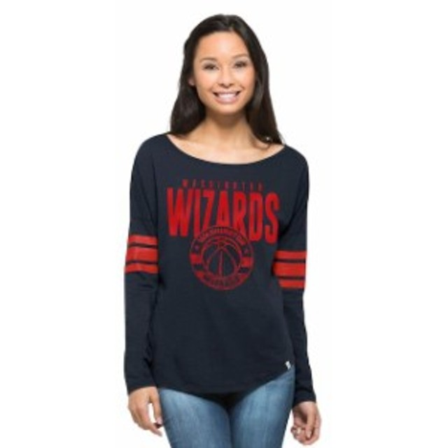 47 フォーティーセブン スポーツ用品  47 Washington Wizards Womens Navy Ladies Courtside Long Sleeve T-Shirt