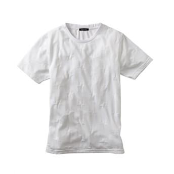 リンクスジャガード星総柄クルーネックTシャツ Tシャツ・カットソー