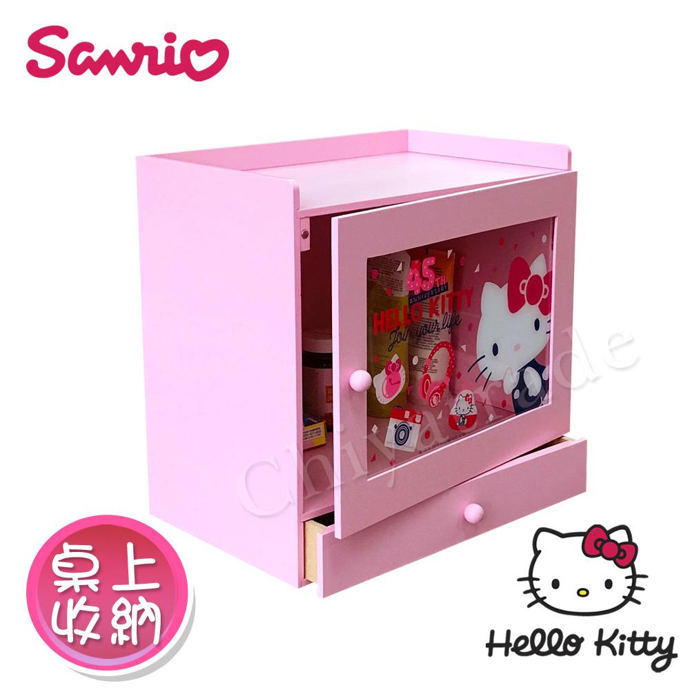 【Hello Kitty】凱蒂貓 透明拉門 單抽屜盒 收納盒 桌上收納 文具收納(正版授權)