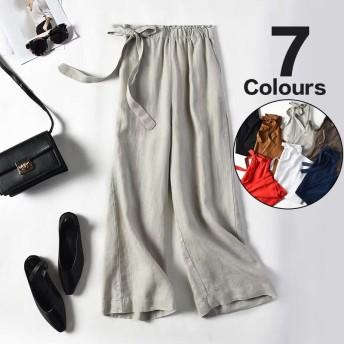 ワイドレッグパンツ女性9ポイント春2019年新しい綿と麻のカジュアル緩い多色のリネンネクタイ弓パンツ